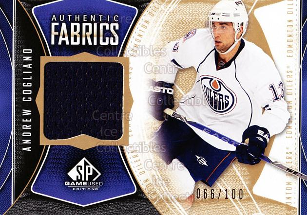 2009-10 Sp Game Used Authentic Fabrics Gold #AFAC Andrew Cogliano<br/>1 In Stock - $5.00 each - <a href=https://centericecollectibles.foxycart.com/cart?name=2009-10%20Sp%20Game%20Used%20Authentic%20Fabrics%20Gold%20%23AFAC%20Andrew%20Cogliano...&price=$5.00&code=601486 class=foxycart> Buy it now! </a>