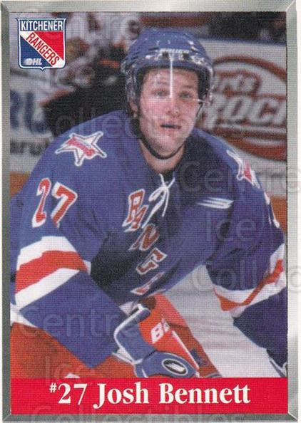 2000-01 Kitchener Rangers #2 Josh Bennett<br/>1 In Stock - $3.00 each - <a href=https://centericecollectibles.foxycart.com/cart?name=2000-01%20Kitchener%20Rangers%20%232%20Josh%20Bennett...&quantity_max=1&price=$3.00&code=602114 class=foxycart> Buy it now! </a>
