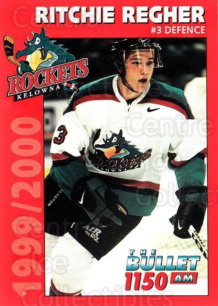 1999-00 Kelowna Rockets #21 Richie Regehr<br/>2 In Stock - $3.00 each - <a href=https://centericecollectibles.foxycart.com/cart?name=1999-00%20Kelowna%20Rockets%20%2321%20Richie%20Regehr...&quantity_max=2&price=$3.00&code=602181 class=foxycart> Buy it now! </a>