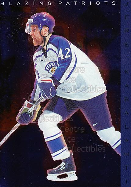 1999-00 Finnish Cardset Blazing Patriots #2 Jere Karalahti<br/>3 In Stock - $3.00 each - <a href=https://centericecollectibles.foxycart.com/cart?name=1999-00%20Finnish%20Cardset%20Blazing%20Patriots%20%232%20Jere%20Karalahti...&quantity_max=3&price=$3.00&code=604659 class=foxycart> Buy it now! </a>