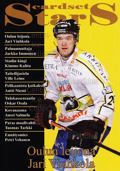2008-09 Finnish Cardset Stars #9 Jari Viuhkola<br/>7 In Stock - $3.00 each - <a href=https://centericecollectibles.foxycart.com/cart?name=2008-09%20Finnish%20Cardset%20Stars%20%239%20Jari%20Viuhkola...&quantity_max=7&price=$3.00&code=604863 class=foxycart> Buy it now! </a>
