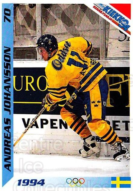 1994 Finnish Jaa Kiekko #70 Andreas Johansson<br/>1 In Stock - $2.00 each - <a href=https://centericecollectibles.foxycart.com/cart?name=1994%20Finnish%20Jaa%20Kiekko%20%2370%20Andreas%20Johanss...&quantity_max=1&price=$2.00&code=605384 class=foxycart> Buy it now! </a>