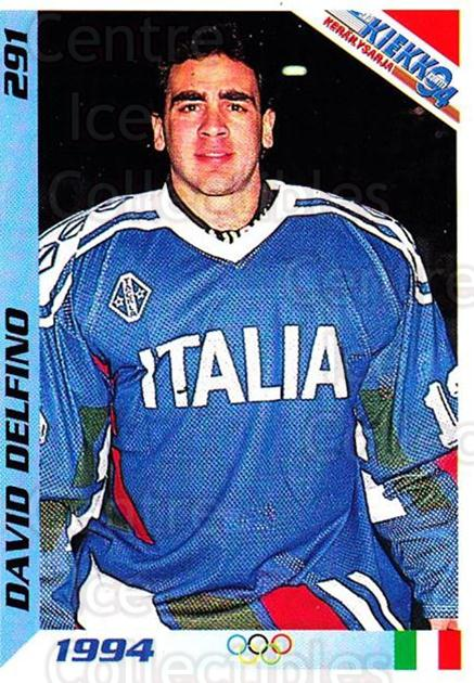 1994 Finnish Jaa Kiekko #291 David Delfino<br/>1 In Stock - $2.00 each - <a href=https://centericecollectibles.foxycart.com/cart?name=1994%20Finnish%20Jaa%20Kiekko%20%23291%20David%20Delfino...&quantity_max=1&price=$2.00&code=605414 class=foxycart> Buy it now! </a>