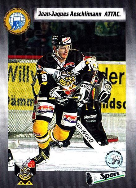1993-94 Swiss HNL #95 Jean-Jacques Aeschlimann<br/>1 In Stock - $2.00 each - <a href=https://centericecollectibles.foxycart.com/cart?name=1993-94%20Swiss%20HNL%20%2395%20Jean-Jacques%20Ae...&quantity_max=1&price=$2.00&code=605689 class=foxycart> Buy it now! </a>