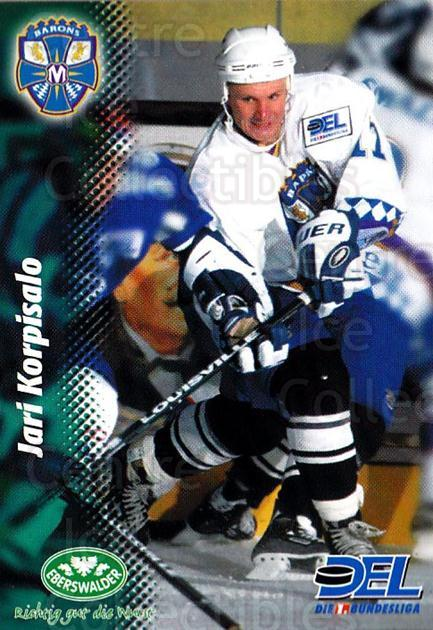 1999-00 German DEL #324 Jari Korpisalo<br/>4 In Stock - $2.00 each - <a href=https://centericecollectibles.foxycart.com/cart?name=1999-00%20German%20DEL%20%23324%20Jari%20Korpisalo...&quantity_max=4&price=$2.00&code=606300 class=foxycart> Buy it now! </a>