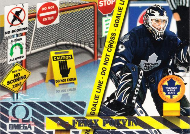 1997-98 Omega No Scoring Zone #10 Felix Potvin<br/>8 In Stock - $3.00 each - <a href=https://centericecollectibles.foxycart.com/cart?name=1997-98%20Omega%20No%20Scoring%20Zone%20%2310%20Felix%20Potvin...&quantity_max=8&price=$3.00&code=60923 class=foxycart> Buy it now! </a>