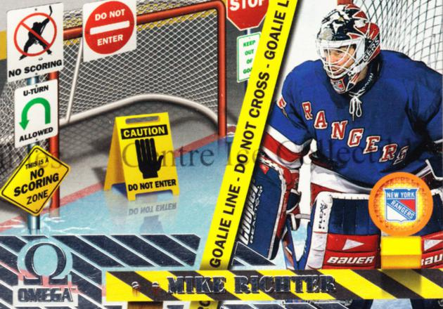 1997-98 Omega No Scoring Zone #8 Mike Richter<br/>11 In Stock - $3.00 each - <a href=https://centericecollectibles.foxycart.com/cart?name=1997-98%20Omega%20No%20Scoring%20Zone%20%238%20Mike%20Richter...&quantity_max=11&price=$3.00&code=60928 class=foxycart> Buy it now! </a>