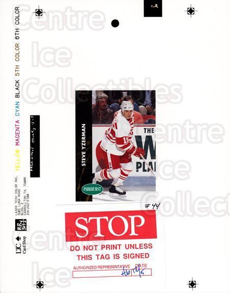 1991-92 Parkhurst French Match Print #44 Steve Yzerman<br/>1 In Stock - $50.00 each - <a href=https://centericecollectibles.foxycart.com/cart?name=1991-92%20Parkhurst%20French%20Match%20Print%20%2344%20Steve%20Yzerman...&price=$50.00&code=609625 class=foxycart> Buy it now! </a>