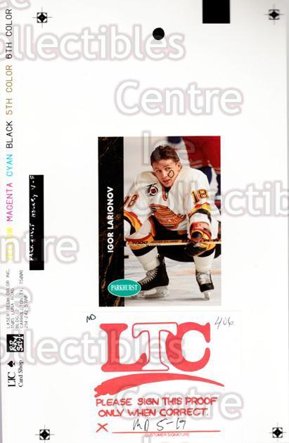1991-92 Parkhurst French Match Print #406 Igor Larionov<br/>1 In Stock - $15.00 each - <a href=https://centericecollectibles.foxycart.com/cart?name=1991-92%20Parkhurst%20French%20Match%20Print%20%23406%20Igor%20Larionov...&quantity_max=1&price=$15.00&code=609813 class=foxycart> Buy it now! </a>
