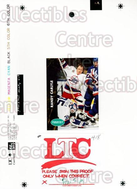 1991-92 Parkhurst French Match Print #418 Randy Carlyle<br/>1 In Stock - $10.00 each - <a href=https://centericecollectibles.foxycart.com/cart?name=1991-92%20Parkhurst%20French%20Match%20Print%20%23418%20Randy%20Carlyle...&quantity_max=1&price=$10.00&code=609825 class=foxycart> Buy it now! </a>