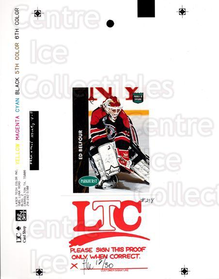 1991-92 Parkhurst French Match Print #218 Ed Belfour<br/>1 In Stock - $30.00 each - <a href=https://centericecollectibles.foxycart.com/cart?name=1991-92%20Parkhurst%20French%20Match%20Print%20%23218%20Ed%20Belfour...&price=$30.00&code=609939 class=foxycart> Buy it now! </a>