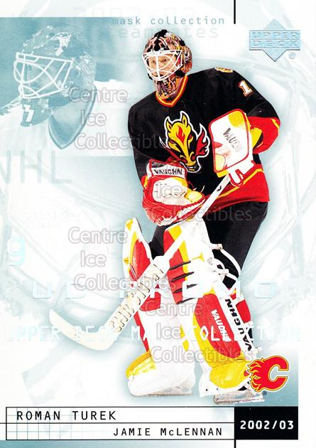 2002-03 UD Mask Collection UD Promo #13 Roman Turek, Jamie McLennan<br/>1 In Stock - $3.00 each - <a href=https://centericecollectibles.foxycart.com/cart?name=2002-03%20UD%20Mask%20Collection%20UD%20Promo%20%2313%20Roman%20Turek,%20Ja...&quantity_max=1&price=$3.00&code=610083 class=foxycart> Buy it now! </a>