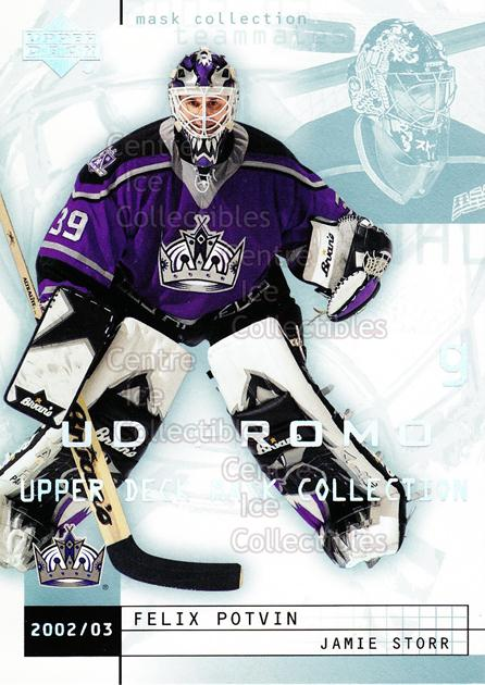 2002-03 UD Mask Collection UD Promo #39 Felix Potvin, Jamie Storr<br/>1 In Stock - $5.00 each - <a href=https://centericecollectibles.foxycart.com/cart?name=2002-03%20UD%20Mask%20Collection%20UD%20Promo%20%2339%20Felix%20Potvin,%20J...&quantity_max=1&price=$5.00&code=610141 class=foxycart> Buy it now! </a>