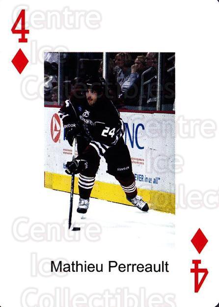 2009-10 Hershey Bears Playing Card #4 Mathieu Perreault<br/>2 In Stock - $3.00 each - <a href=https://centericecollectibles.foxycart.com/cart?name=2009-10%20Hershey%20Bears%20Playing%20Card%20%234%20Mathieu%20Perreau...&quantity_max=2&price=$3.00&code=610961 class=foxycart> Buy it now! </a>