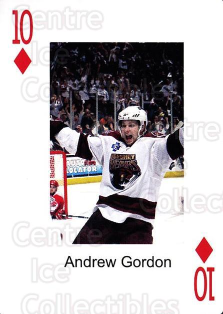2009-10 Hershey Bears Playing Card #10 Andrew Gordon<br/>2 In Stock - $3.00 each - <a href=https://centericecollectibles.foxycart.com/cart?name=2009-10%20Hershey%20Bears%20Playing%20Card%20%2310%20Andrew%20Gordon...&quantity_max=2&price=$3.00&code=610967 class=foxycart> Buy it now! </a>