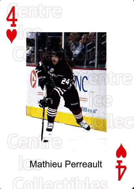 2009-10 Hershey Bears Playing Card #17 Mathieu Perreault<br/>2 In Stock - $3.00 each - <a href=https://centericecollectibles.foxycart.com/cart?name=2009-10%20Hershey%20Bears%20Playing%20Card%20%2317%20Mathieu%20Perreau...&quantity_max=2&price=$3.00&code=610974 class=foxycart> Buy it now! </a>