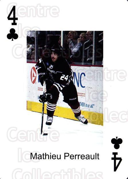 2009-10 Hershey Bears Playing Card #30 Mathieu Perreault<br/>2 In Stock - $3.00 each - <a href=https://centericecollectibles.foxycart.com/cart?name=2009-10%20Hershey%20Bears%20Playing%20Card%20%2330%20Mathieu%20Perreau...&quantity_max=2&price=$3.00&code=610987 class=foxycart> Buy it now! </a>
