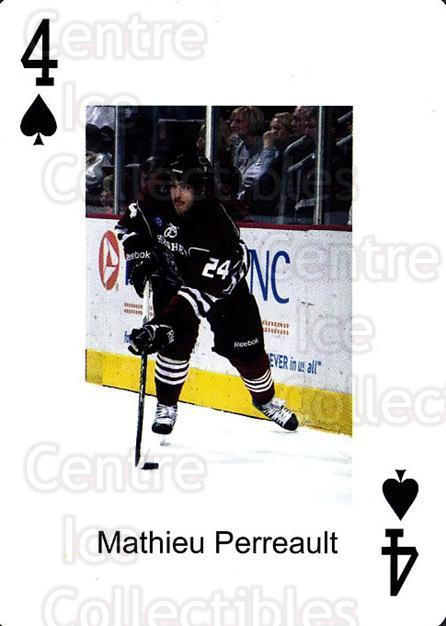 2009-10 Hershey Bears Playing Card #43 Mathieu Perreault<br/>2 In Stock - $3.00 each - <a href=https://centericecollectibles.foxycart.com/cart?name=2009-10%20Hershey%20Bears%20Playing%20Card%20%2343%20Mathieu%20Perreau...&quantity_max=2&price=$3.00&code=611000 class=foxycart> Buy it now! </a>