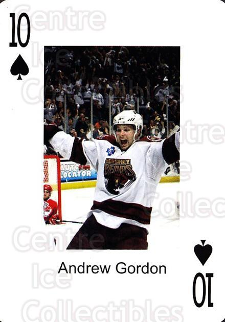 2009-10 Hershey Bears Playing Card #49 Andrew Gordon<br/>2 In Stock - $3.00 each - <a href=https://centericecollectibles.foxycart.com/cart?name=2009-10%20Hershey%20Bears%20Playing%20Card%20%2349%20Andrew%20Gordon...&quantity_max=2&price=$3.00&code=611006 class=foxycart> Buy it now! </a>