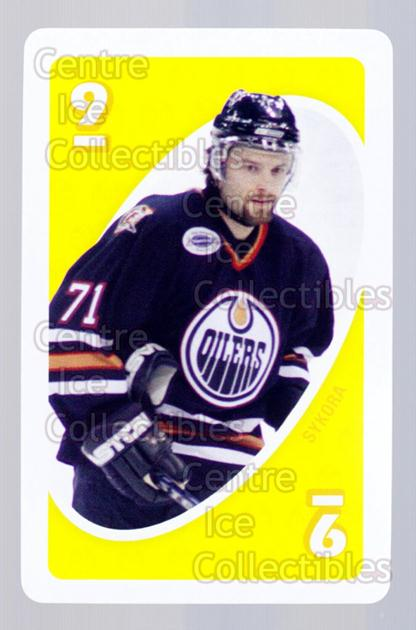 2007-08 Edmonton Oilers Mattel UNO #36 Petr Sykora<br/>3 In Stock - $3.00 each - <a href=https://centericecollectibles.foxycart.com/cart?name=2007-08%20Edmonton%20Oilers%20Mattel%20UNO%20%2336%20Petr%20Sykora...&quantity_max=3&price=$3.00&code=611190 class=foxycart> Buy it now! </a>