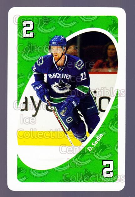 2007-08 Vancouver Canucks Mattel UNO #3 Daniel Sedin<br/>4 In Stock - $2.00 each - <a href=https://centericecollectibles.foxycart.com/cart?name=2007-08%20Vancouver%20Canucks%20Mattel%20UNO%20%233%20Daniel%20Sedin...&price=$2.00&code=611212 class=foxycart> Buy it now! </a>