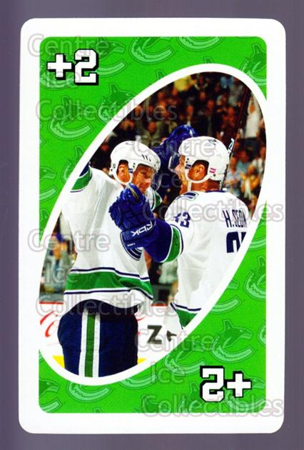 2007-08 Vancouver Canucks Mattel UNO #13 Henrik Sedin<br/>4 In Stock - $3.00 each - <a href=https://centericecollectibles.foxycart.com/cart?name=2007-08%20Vancouver%20Canucks%20Mattel%20UNO%20%2313%20Henrik%20Sedin...&quantity_max=4&price=$3.00&code=611222 class=foxycart> Buy it now! </a>