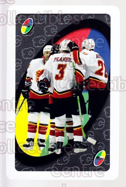 2007-08 Calgary Flames Mattel UNO #55 Dion Phaneuf, Kristian Huselius, Roman Hamrlik<br/>3 In Stock - $2.00 each - <a href=https://centericecollectibles.foxycart.com/cart?name=2007-08%20Calgary%20Flames%20Mattel%20UNO%20%2355%20Dion%20Phaneuf,%20K...&price=$2.00&code=611419 class=foxycart> Buy it now! </a>