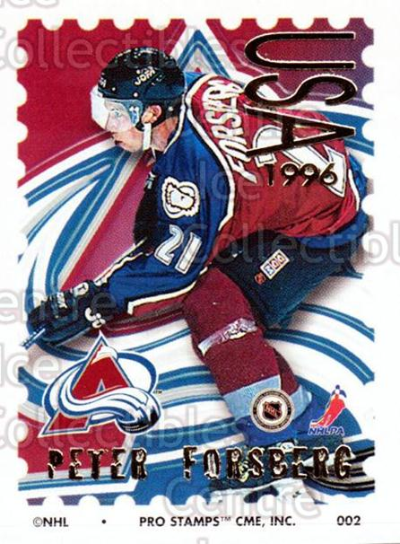 1996-97 NHL Pro Stamps #2 Peter Forsberg<br/>17 In Stock - $2.00 each - <a href=https://centericecollectibles.foxycart.com/cart?name=1996-97%20NHL%20Pro%20Stamps%20%232%20Peter%20Forsberg...&quantity_max=17&price=$2.00&code=611464 class=foxycart> Buy it now! </a>