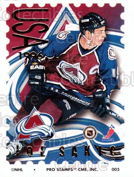 1996-97 NHL Pro Stamps #5 Joe Sakic<br/>24 In Stock - $2.00 each - <a href=https://centericecollectibles.foxycart.com/cart?name=1996-97%20NHL%20Pro%20Stamps%20%235%20Joe%20Sakic...&quantity_max=24&price=$2.00&code=611465 class=foxycart> Buy it now! </a>
