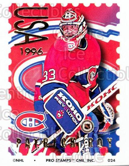 1996-97 NHL Pro Stamps #24 Patrick Roy<br/>11 In Stock - $5.00 each - <a href=https://centericecollectibles.foxycart.com/cart?name=1996-97%20NHL%20Pro%20Stamps%20%2324%20Patrick%20Roy...&quantity_max=11&price=$5.00&code=611467 class=foxycart> Buy it now! </a>