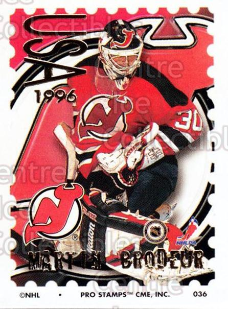 1996-97 NHL Pro Stamps #36 Martin Brodeur<br/>48 In Stock - $3.00 each - <a href=https://centericecollectibles.foxycart.com/cart?name=1996-97%20NHL%20Pro%20Stamps%20%2336%20Martin%20Brodeur...&price=$3.00&code=611469 class=foxycart> Buy it now! </a>