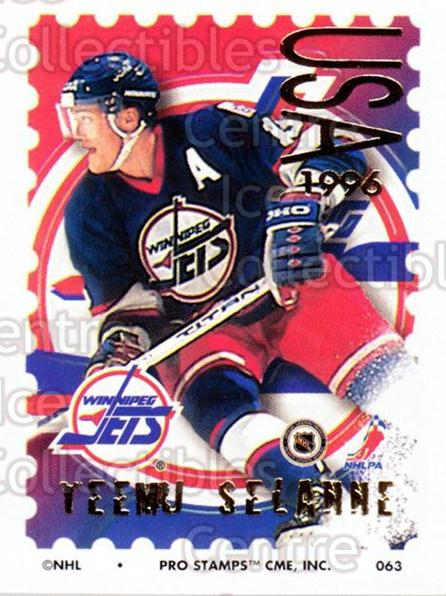 1996-97 NHL Pro Stamps #63 Teemu Selanne<br/>24 In Stock - $5.00 each - <a href=https://centericecollectibles.foxycart.com/cart?name=1996-97%20NHL%20Pro%20Stamps%20%2363%20Teemu%20Selanne...&quantity_max=24&price=$5.00&code=611470 class=foxycart> Buy it now! </a>