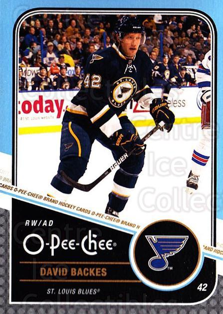 2011-12 O-Pee-Chee #385 David Backes<br/>1 In Stock - $1.00 each - <a href=https://centericecollectibles.foxycart.com/cart?name=2011-12%20O-Pee-Chee%20%23385%20David%20Backes...&quantity_max=1&price=$1.00&code=611985 class=foxycart> Buy it now! </a>