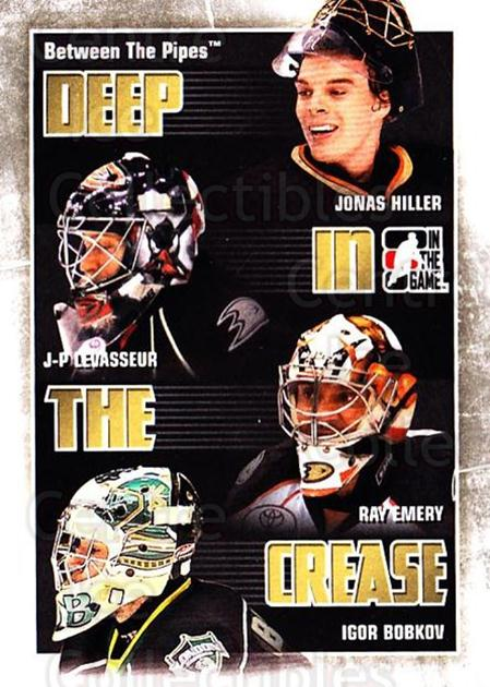 2010-11 Between The Pipes Deep In The Crease #1 Jonas Hiller, JP Levasseur, Ray Emery, Igor Bobkov<br/>1 In Stock - $3.00 each - <a href=https://centericecollectibles.foxycart.com/cart?name=2010-11%20Between%20The%20Pipes%20Deep%20In%20The%20Crease%20%231%20Jonas%20Hiller,%20J...&quantity_max=1&price=$3.00&code=614608 class=foxycart> Buy it now! </a>
