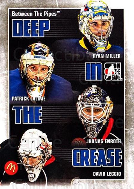 2010-11 Between The Pipes Deep In The Crease #4 Ryan Miller, Patrick Lalime, Jhonas Enroth, David Leggio<br/>1 In Stock - $3.00 each - <a href=https://centericecollectibles.foxycart.com/cart?name=2010-11%20Between%20The%20Pipes%20Deep%20In%20The%20Crease%20%234%20Ryan%20Miller,%20Pa...&quantity_max=1&price=$3.00&code=614611 class=foxycart> Buy it now! </a>