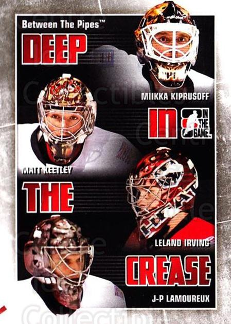 2010-11 Between The Pipes Deep In The Crease #5 Miikka Kiprusoff, Matt Keetley, Leland Irving, P-P Lamoureux<br/>2 In Stock - $3.00 each - <a href=https://centericecollectibles.foxycart.com/cart?name=2010-11%20Between%20The%20Pipes%20Deep%20In%20The%20Crease%20%235%20Miikka%20Kiprusof...&quantity_max=2&price=$3.00&code=614612 class=foxycart> Buy it now! </a>