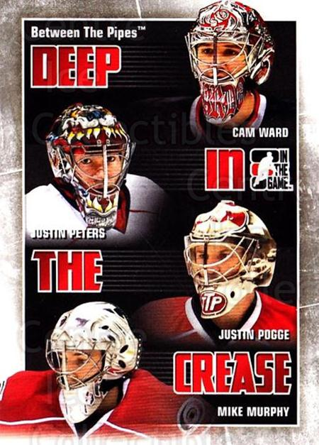 2010-11 Between The Pipes Deep In The Crease #6 Cam Ward, Justin Peters, Justin Pogge, Mike Murphy<br/>2 In Stock - $3.00 each - <a href=https://centericecollectibles.foxycart.com/cart?name=2010-11%20Between%20The%20Pipes%20Deep%20In%20The%20Crease%20%236%20Cam%20Ward,%20Justi...&price=$3.00&code=614613 class=foxycart> Buy it now! </a>