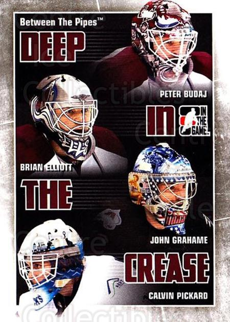 2010-11 Between The Pipes Deep In The Crease #8 Peter Budaj, Brian Elliott, John Grahame, Calvin Pickard<br/>2 In Stock - $3.00 each - <a href=https://centericecollectibles.foxycart.com/cart?name=2010-11%20Between%20The%20Pipes%20Deep%20In%20The%20Crease%20%238%20Peter%20Budaj,%20Br...&quantity_max=2&price=$3.00&code=614615 class=foxycart> Buy it now! </a>