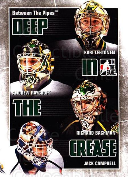 2010-11 Between The Pipes Deep In The Crease #10 Kari Lehtonen, Andrew Raycroft, Richard Bachman, Jack Campbell<br/>2 In Stock - $3.00 each - <a href=https://centericecollectibles.foxycart.com/cart?name=2010-11%20Between%20The%20Pipes%20Deep%20In%20The%20Crease%20%2310%20Kari%20Lehtonen,%20...&quantity_max=2&price=$3.00&code=614617 class=foxycart> Buy it now! </a>