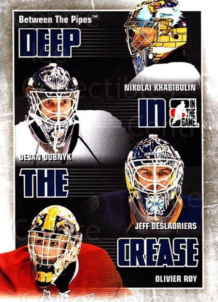 2010-11 Between The Pipes Deep In The Crease #12 Nikolai Khabibulin, Devan Dubnyk, Jeff Deslauriers, Olivier Roy<br/>1 In Stock - $3.00 each - <a href=https://centericecollectibles.foxycart.com/cart?name=2010-11%20Between%20The%20Pipes%20Deep%20In%20The%20Crease%20%2312%20Nikolai%20Khabibu...&quantity_max=1&price=$3.00&code=614619 class=foxycart> Buy it now! </a>