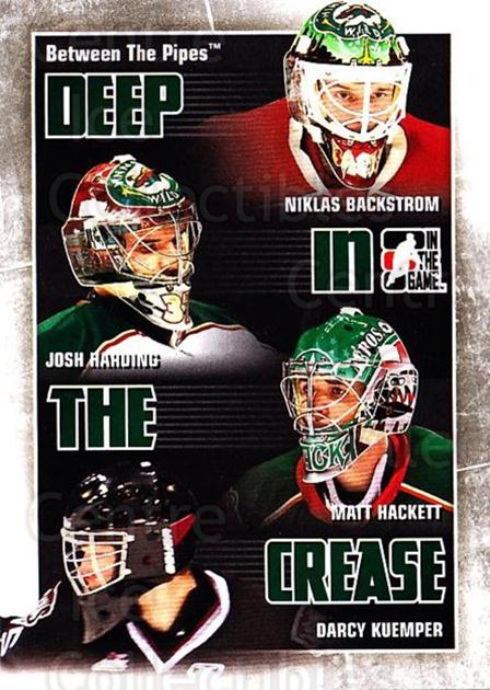 2010-11 Between The Pipes Deep In The Crease #15 Niklas Backstrom, Josh Harding, Matt Hackett, Darcy Kuemper<br/>1 In Stock - $3.00 each - <a href=https://centericecollectibles.foxycart.com/cart?name=2010-11%20Between%20The%20Pipes%20Deep%20In%20The%20Crease%20%2315%20Niklas%20Backstro...&price=$3.00&code=614622 class=foxycart> Buy it now! </a>