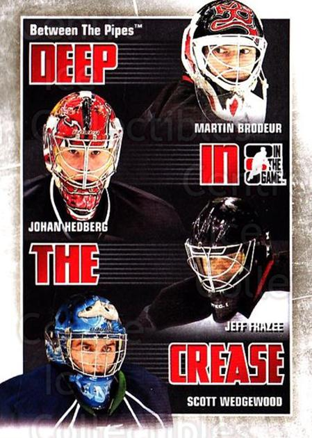 2010-11 Between The Pipes Deep In The Crease #17 Martin Brodeur, Johan Hedberg, Jeff Frazee, Scott Wedgewood<br/>1 In Stock - $5.00 each - <a href=https://centericecollectibles.foxycart.com/cart?name=2010-11%20Between%20The%20Pipes%20Deep%20In%20The%20Crease%20%2317%20Martin%20Brodeur,...&quantity_max=1&price=$5.00&code=614624 class=foxycart> Buy it now! </a>