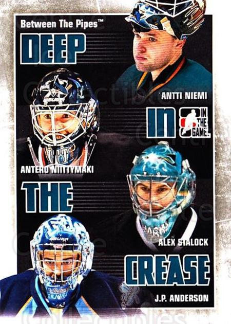 2010-11 Between The Pipes Deep In The Crease #25 Antti Niemi, Antero Niittymaki, Alex Stalock, J.P. Anderson<br/>2 In Stock - $3.00 each - <a href=https://centericecollectibles.foxycart.com/cart?name=2010-11%20Between%20The%20Pipes%20Deep%20In%20The%20Crease%20%2325%20Antti%20Niemi,%20An...&quantity_max=2&price=$3.00&code=614632 class=foxycart> Buy it now! </a>
