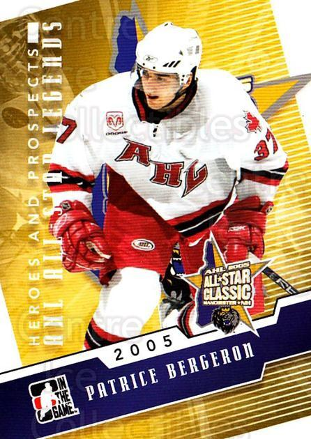 2009-10 ITG Heroes and Prospects AHL All Star Legends #16 Patrice Bergeron<br/>1 In Stock - $5.00 each - <a href=https://centericecollectibles.foxycart.com/cart?name=2009-10%20ITG%20Heroes%20and%20Prospects%20AHL%20All%20Star%20Legends%20%2316%20Patrice%20Bergero...&quantity_max=1&price=$5.00&code=614737 class=foxycart> Buy it now! </a>