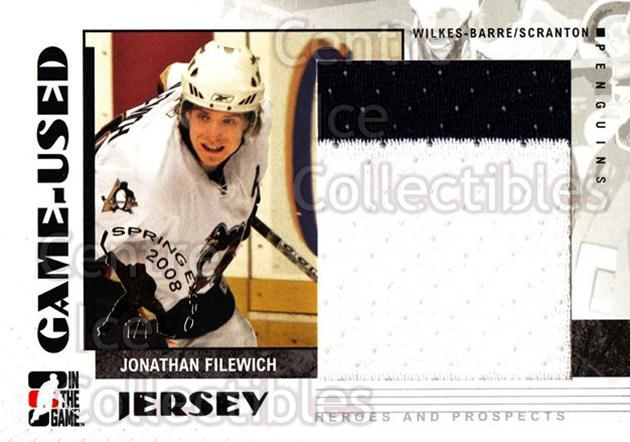 2007-08 ITG Heroes and Prospects Jersey Spring Expo /1 #47 Jon Filewich<br/>1 In Stock - $15.00 each - <a href=https://centericecollectibles.foxycart.com/cart?name=2007-08%20ITG%20Heroes%20and%20Prospects%20Jersey%20Spring%20Expo%20/1%20%2347%20Jon%20Filewich...&price=$15.00&code=616538 class=foxycart> Buy it now! </a>