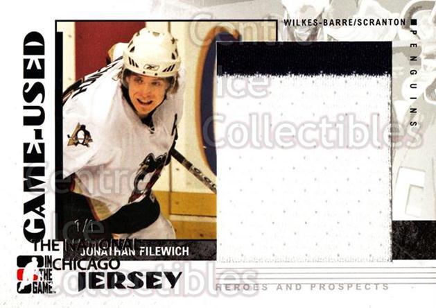2007-08 ITG Heroes and Prospects Jersey National /1 #47 Jon Filewich<br/>1 In Stock - $15.00 each - <a href=https://centericecollectibles.foxycart.com/cart?name=2007-08%20ITG%20Heroes%20and%20Prospects%20Jersey%20National%20/1%20%2347%20Jon%20Filewich...&price=$15.00&code=616607 class=foxycart> Buy it now! </a>
