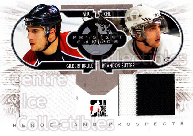 2008-09 ITG Heroes and Prospects Prospects Combos Silver Spring Expo /1 #6 Gilbert Brule, Brandon Sutter<br/>1 In Stock - $15.00 each - <a href=https://centericecollectibles.foxycart.com/cart?name=2008-09%20ITG%20Heroes%20and%20Prospects%20Prospects%20Combos%20Silver%20Spring%20Expo%20/1%20%236%20Gilbert%20Brule,%20...&price=$15.00&code=616724 class=foxycart> Buy it now! </a>