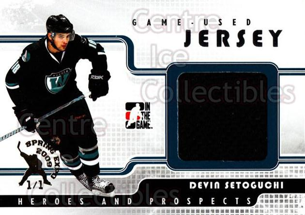 2008-09 ITG Heroes and Prospects Jersey Silver Spring Expo /1 #34 Devin Setoguchi<br/>1 In Stock - $15.00 each - <a href=https://centericecollectibles.foxycart.com/cart?name=2008-09%20ITG%20Heroes%20and%20Prospects%20Jersey%20Silver%20Spring%20Expo%20/1%20%2334%20Devin%20Setoguchi...&quantity_max=1&price=$15.00&code=616812 class=foxycart> Buy it now! </a>