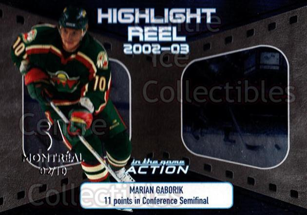 2003-04 ITG Action Highlight Reel Montreal #12 Marian Gaborik<br/>1 In Stock - $5.00 each - <a href=https://centericecollectibles.foxycart.com/cart?name=2003-04%20ITG%20Action%20Highlight%20Reel%20Montreal%20%2312%20Marian%20Gaborik...&quantity_max=1&price=$5.00&code=617655 class=foxycart> Buy it now! </a>