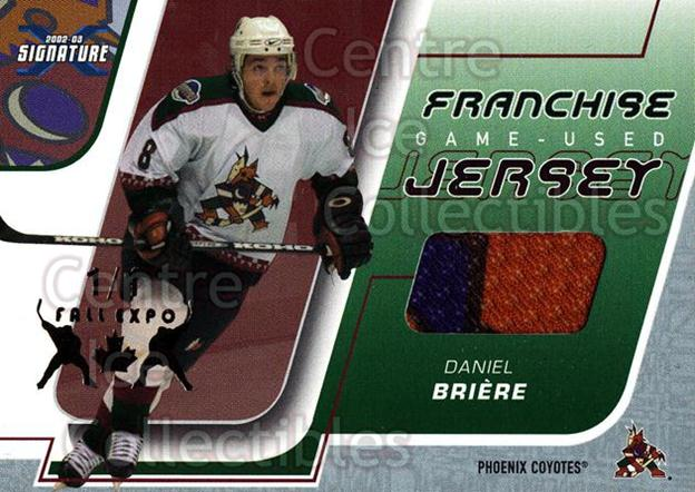 2002-03 BAP Signature Series Franchise Jersey Fall Expo /1 #23 Daniel Briere<br/>1 In Stock - $15.00 each - <a href=https://centericecollectibles.foxycart.com/cart?name=2002-03%20BAP%20Signature%20Series%20Franchise%20Jersey%20Fall%20Expo%20/1%20%2323%20Daniel%20Briere...&quantity_max=1&price=$15.00&code=619428 class=foxycart> Buy it now! </a>